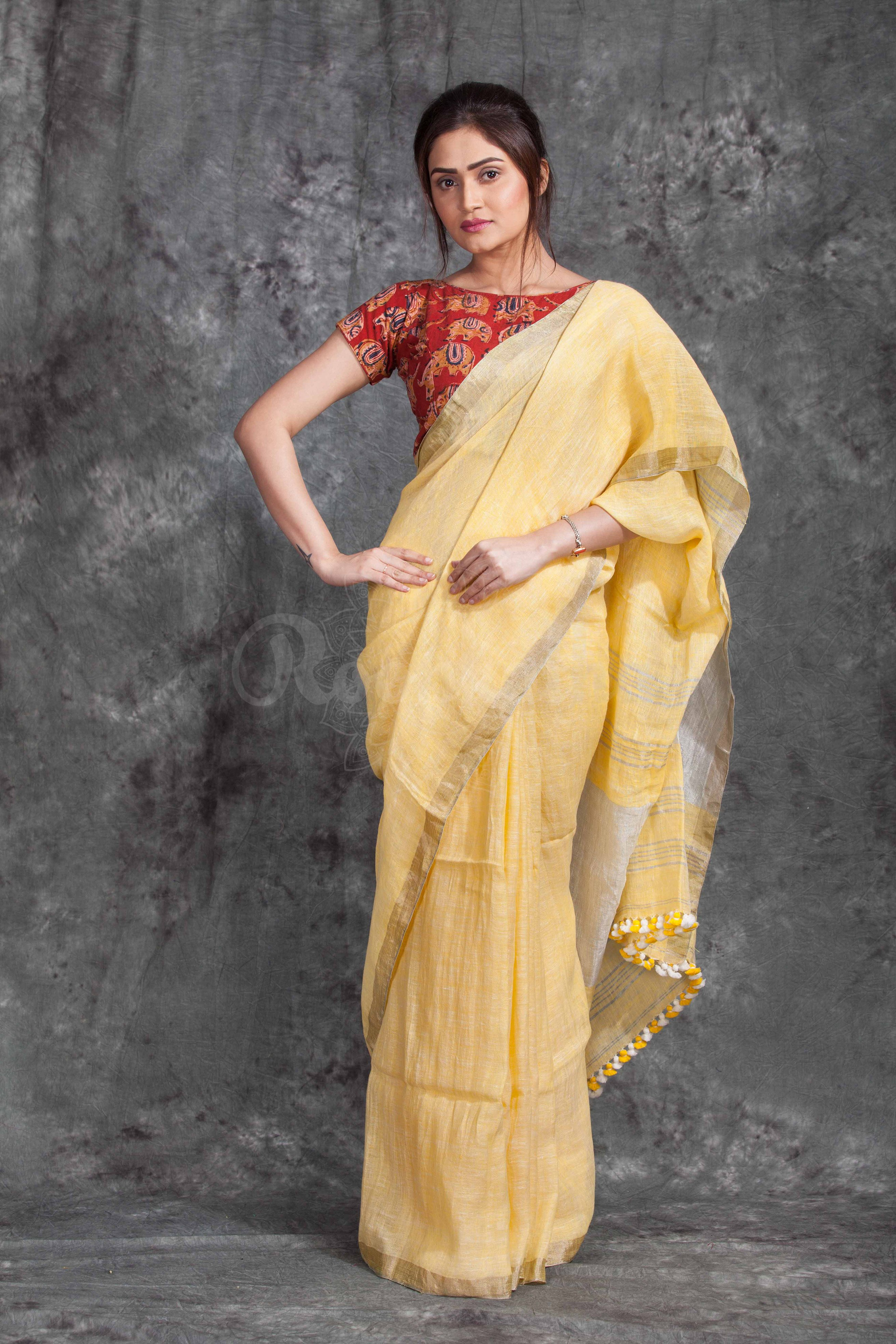 100% authentic official images kid Pure Linen Saree